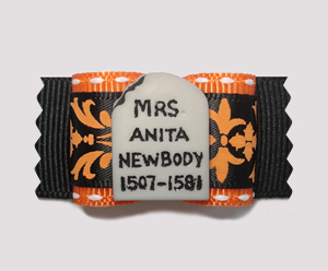 "#A7010 - 7/8"" Dog Bow - Fun Tombstone - ""Anita Newbody"""