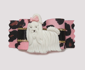"#A7011 - 7/8"" Dog Bow - Pink Leopard, Beautiful Diva Maltese"