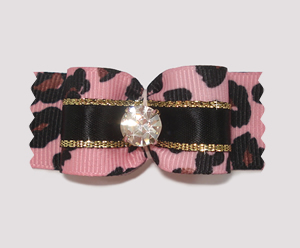 "#A7012 - 7/8"" Dog Bow - Gorgeous Pink Leopard, Super Bling!"