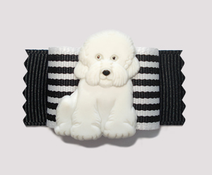 "#A7017 - 7/8"" Dog Bow - Classic Black/White Stripe, Bichon Frise"