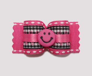 "#A7020 - 7/8"" Dog Bow - Pink Smiley, Black/White Gingham on Pink"