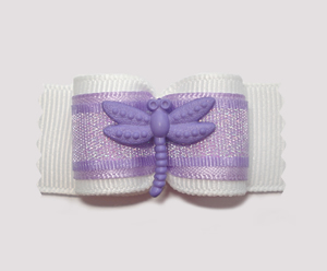 "#A7027 - 7/8"" Dog Bow - Pretty Lavender Sparkle with Dragonfly"