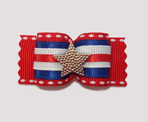 "#A7028 - 7/8"" Dog Bow - Patriotic Red, White & Blue with Star"