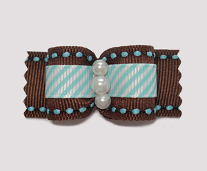"#A7032 - 7/8"" Dog Bow - Lovely Chocolate Brown with Blue/White"