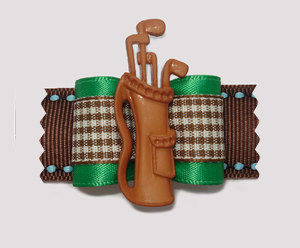 "#A7033 - 7/8"" Dog Bow - Golf Bag, Green Satin w/Brown Plaid"