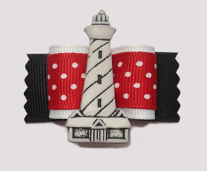 "#A7041 - 7/8"" Dog Bow - Seaside Lighthouse, Red/White/Black"