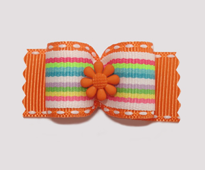 "#A7045 - 7/8"" Dog Bow - Fun Stripes, Vibrant Orange with Flower"
