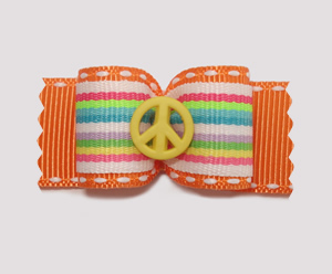 "#A7046 - 7/8"" Dog Bow- Fun Stripes, Vibrant Orange, Yellow Peace"