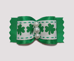 "#A7047 - 7/8"" Dog Bow - St Patrick's Day Delight"