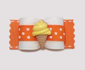 "#A7075 - 7/8"" Dog Bow - Orange, Cute Dots, Lemon Ice Cream Cone"