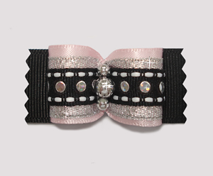 "#A7079 - 7/8"" Dog Bow - Special Occasion, Gorgeous Pink & Black"