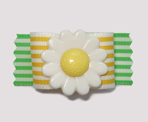 "#A7082 - 7/8"" Dog Bow - Delightful Daisy, Yellow & Green Stripes"