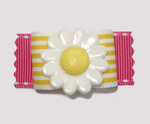 "#A7085 - 7/8"" Dog Bow - Delightful Daisy, Yellow Stripes, Pink"
