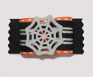 "#A7090 - 7/8"" Dog Bow - Spooky Spider Web, Black"