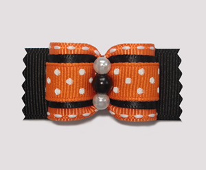 "#A7094 - 7/8"" Dog Bow - Delightful Orange & Black with Tiny Dots"
