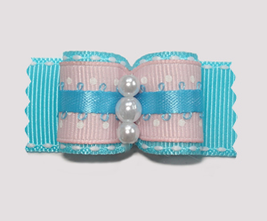 "#A7101 - 7/8"" Dog Bow - Bubblegum, Pink, White Dots & Blue"