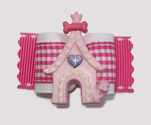 "#A7103 - 7/8"" Dog Bow - Princess Castle, Pretty in Pink Gingham"