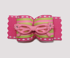 "#A7105 - 7/8"" Dog Bow - ""Be Seen"" Cool Pink Glasses, Lime & Pink"