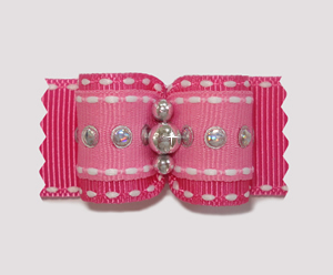 "#A7108 - 7/8"" Dog Bow - Trendy Pink with Silver, Sequins"