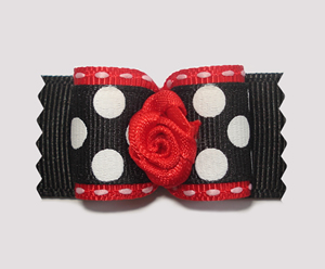 "#A7111 - 7/8"" Dog Bow - Bold 'n Classic, B&W Dots, Red Rosette"
