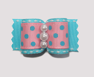 "#A7116 - 7/8"" Dog Bow -Candy Floss Pink & Blue, Faux Pearls"