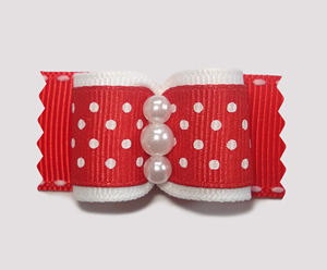 "#A7123 - 7/8"" Dog Bow - Adorable Red & White Dots, Faux Pearls"