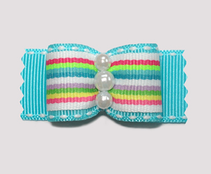 "#A7131 - 7/8"" Dog Bow - Bright Stripes on Blue, Faux Pearls"