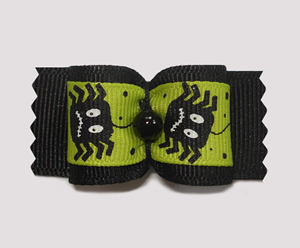 "#A7135 - 7/8"" Dog Bow - Spooky Spiders, Black & Green"