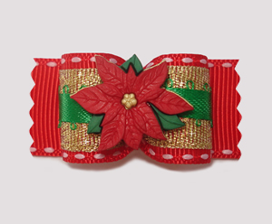 "#A7141 - 7/8"" Dog Bow - Gorgeous Gold, Green, Red Poinsettia"