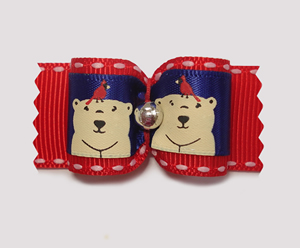 "#A7143 - 7/8"" Dog Bow - Happy Winter Bears with Red Cardinals"