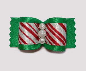 "#A7144 - 7/8"" Dog Bow - Candy Cane Sparkly Stripe on Green"