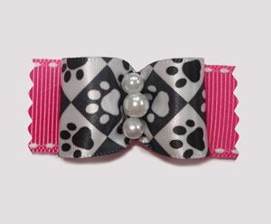 "#A7147 - 7/8"" Dog Bow - Pawsitively Sweet Paws, Pink"