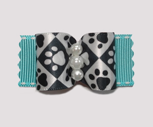 "#A7151 - 7/8"" Dog Bow - Pawsitively Sweet Paws, Blue"