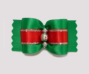 "#A7158 - 7/8"" Dog Bow - Holiday Red and Green with Silver"