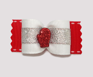 "#A7160 - 7/8"" Dog Bow - Sparkling Winter Mitten, Red/Silver"