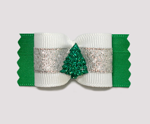 "#A7161 - 7/8"" Dog Bow - Sparkling Winter Evergreen, Green/Silver"