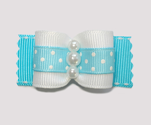 "#A7163 - 7/8"" Dog Bow - Delightful Dots, Blue, Faux Pearls"