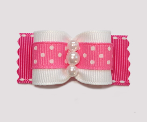 "#A7165 - 7/8"" Dog Bow - Delightful Dots, Pink, Faux Pearls"