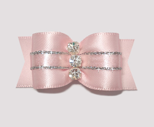 "#A7166 - 7/8"" Dog Bow - Gorgeous Baby Pink w/Silver, Rhinestones"