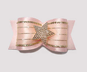 "#A7167 - 7/8"" Dog Bow - Gorgeous Baby Pink w/Sparkly Gold, Star"