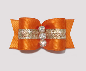 "#A7168 - 7/8"" Dog Bow- Gorgeous Showy Orange w/Gold, Rhinestones"
