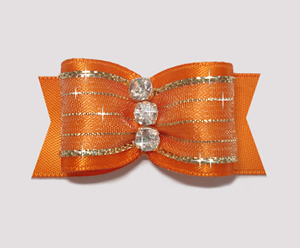 "#A7169 - 7/8"" Dog Bow - Vibrant Showy Orange w/Gold, Rhinestones"