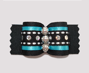"#A7179 - 7/8"" Dog Bow - Gorgeous Black/Blue, Silver Sequins"