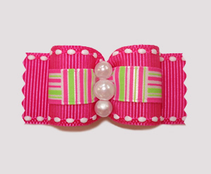 "#A7180 - 7/8"" Dog Bow - Hot Pink w/Retro Lime, Faux Pearls"