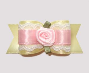 "#A7190 - 7/8"" Dog Bow - Gorgeous Victorian, Lace, Pink Rose"