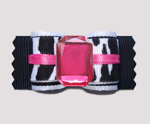 "#A7192 - 7/8"" Dog Bow - Fun Bling, Zebra Girl, Hot Pink"