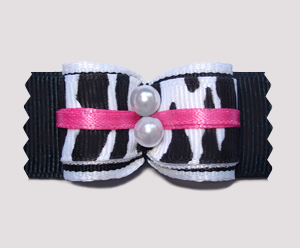 "#A7193 - 7/8"" Dog Bow - Classic Zebra with a Touch of Pink"