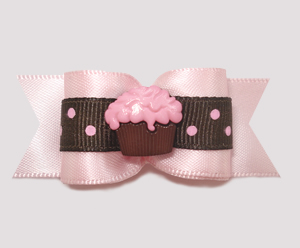 "#A7198 - 7/8"" Dog Bow - Chocolate 'n Strawberry Dots, Cupcake"