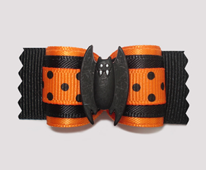 "#A7208 - 7/8"" Dog Bow - Go Batty on Halloween!"