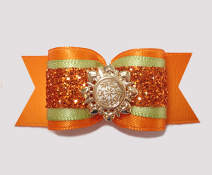 "#A7216 - 7/8"" Dog Bow - Stunning, Vibrant Orange Glitter"